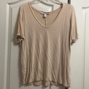 Forever 21 Contemporary, XS, Beige Short Sleeve